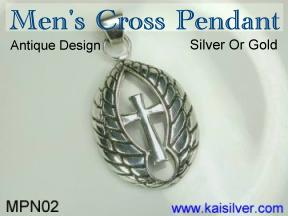 male silver jewelry, 925 silver male cross pendant