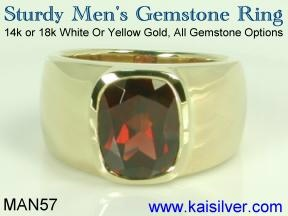 male garnet ring gold or 925 silver