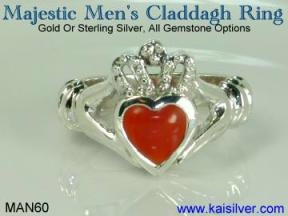 male 925 sterling silver claddagh ring