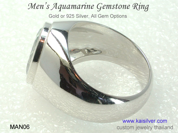 men's gemstone ring with aquamarine
