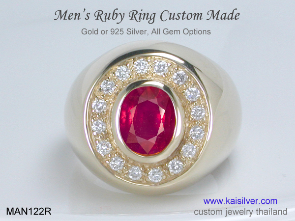 custom ruby gemstone ring for men