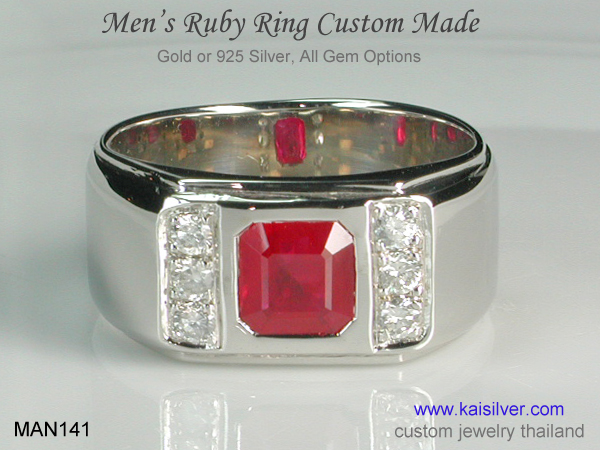 men's band ring with diamond and ruby