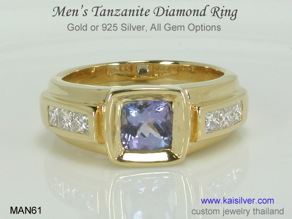 tanzanite diamond band ring for men