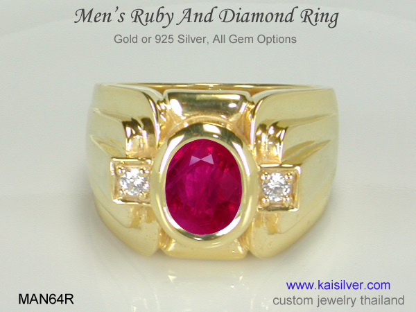 men's ruby gemstone ring