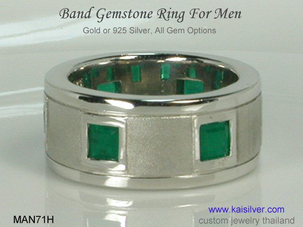 men's gemstone band ring custom