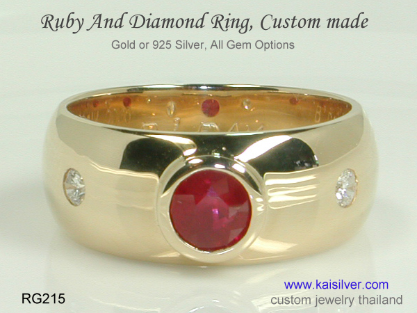 men's custom band ruby diamond